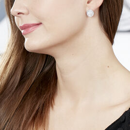 Boucles D'oreilles Puces Pelina Argent Blanc Oxyde De Zirconium Nacre - Boucles d'Oreilles Trèfle Femme | Histoire d'Or