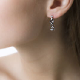 Boucles D'oreilles Pendantes Ally Argent Blanc Oxyde De Zirconium - Boucles d'Oreilles Coeur Femme | Histoire d'Or