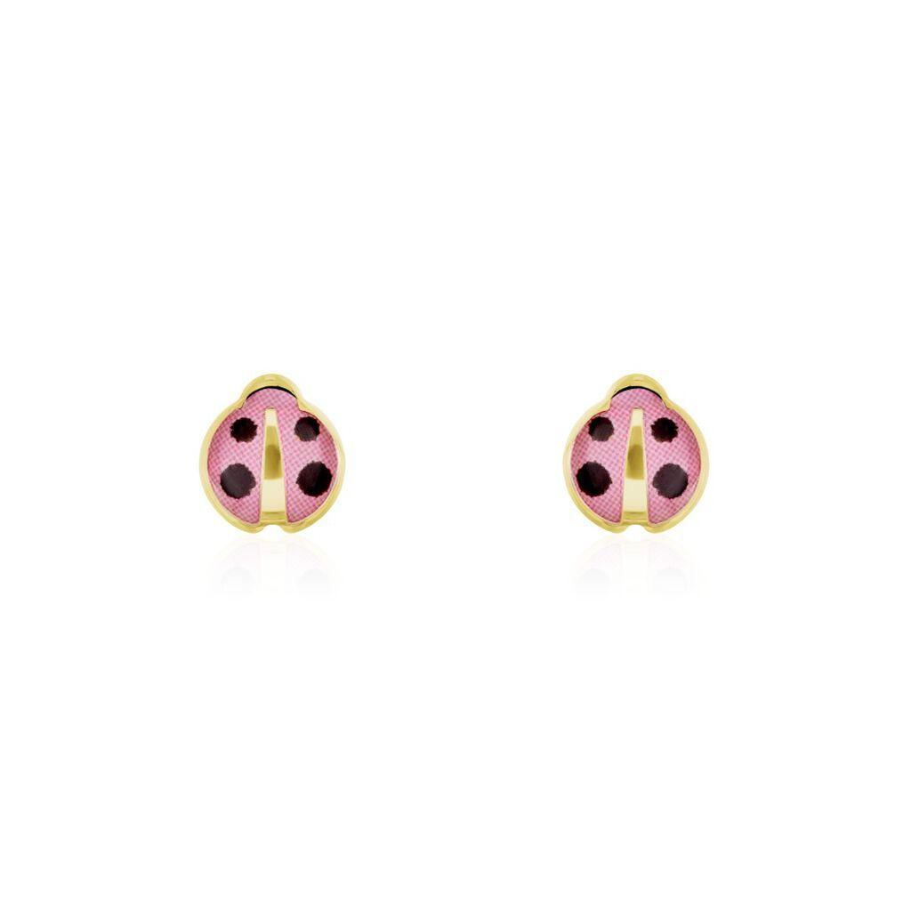 Boucles D'oreilles Puces Helidie Coccinelle Or Jaune - Clous d'oreilles Enfant | Histoire d'Or