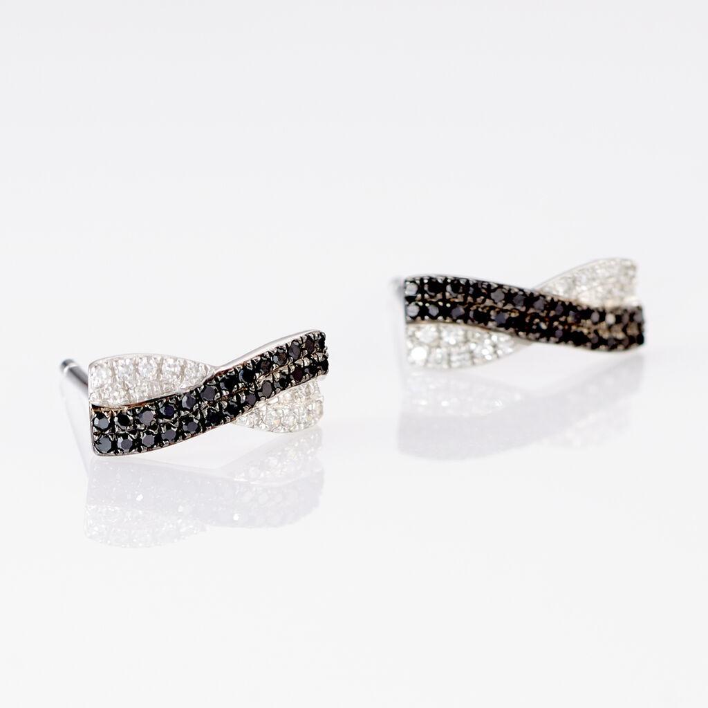 Boucles D'oreilles Puces Alric Or Blanc Diamant - Clous d'oreilles Femme   Histoire d'Or