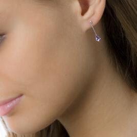 Boucles D'oreilles Pendantes Goutte Or Blanc Amethyste - Boucles d'oreilles pendantes Femme | Histoire d'Or