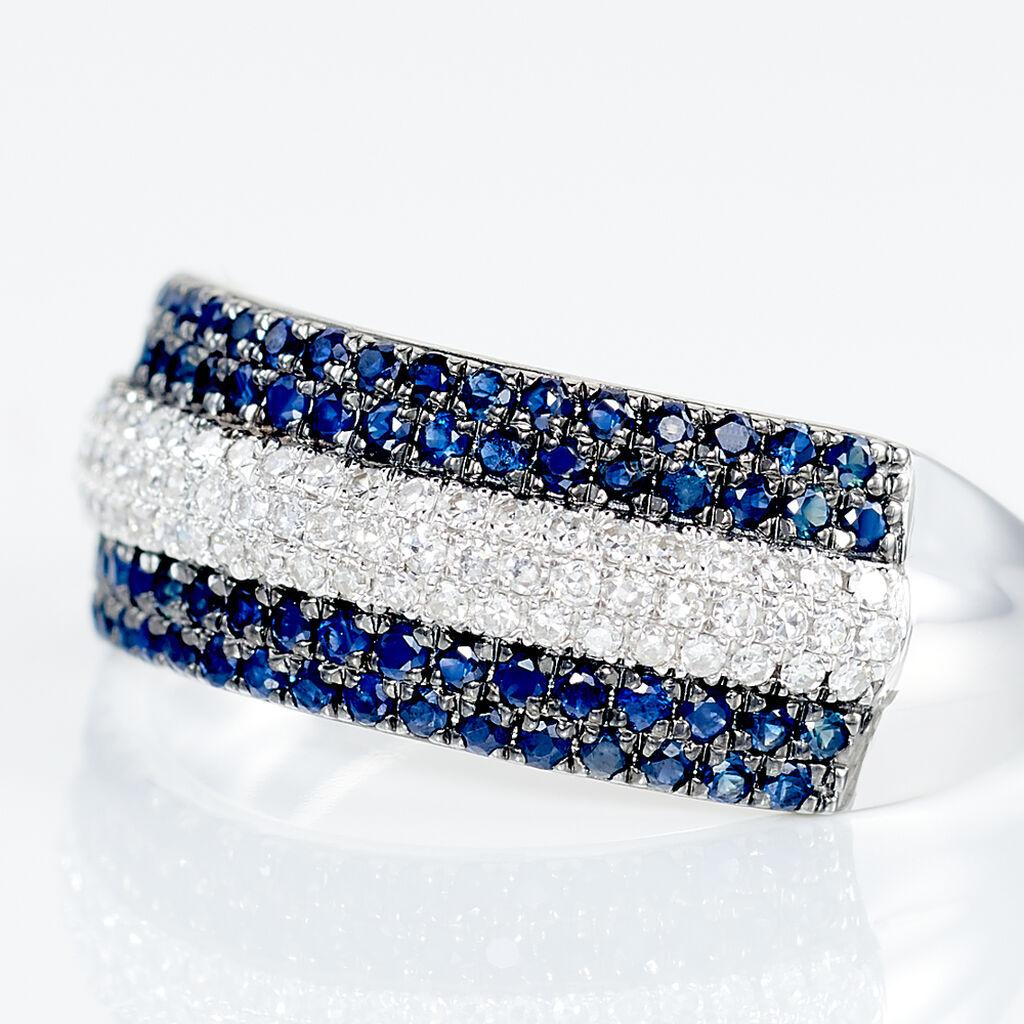 Bague Or Blanc Maike Saphirs Diamants - Bagues avec pierre Femme | Histoire d'Or