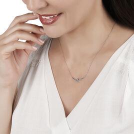 Collier Eva Or Blanc Topaze Et Oxyde De Zirconium - Colliers Coeur Femme   Histoire d'Or