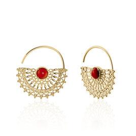 Boucles D'oreilles Pendantes Naim Plaque Or Jaune Pierre De Synthese - Boucles d'oreilles créoles Femme | Histoire d'Or