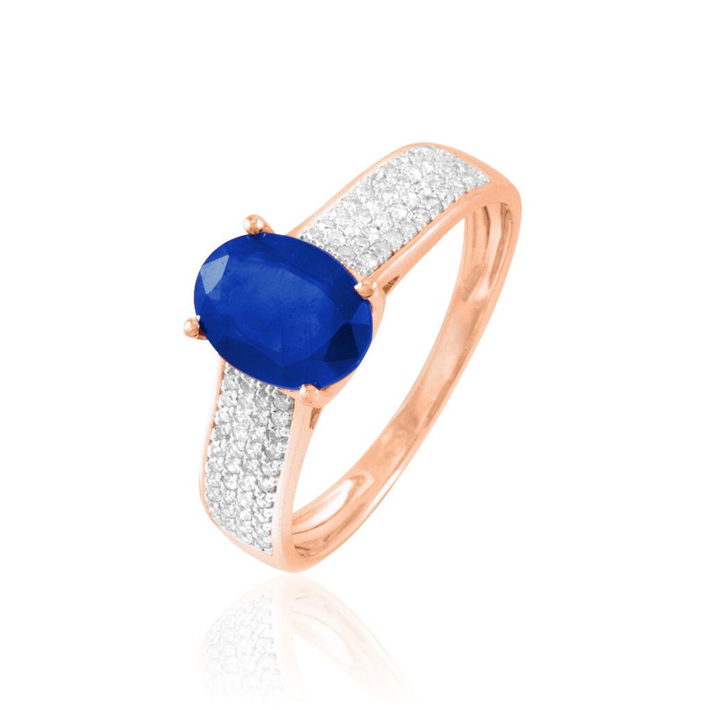 Bague Crista Or Rose Saphir Et Diamant - Bagues avec pierre Femme   Histoire d'Or