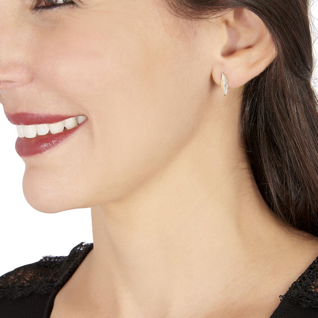 Boucles D'oreilles Puces Paola Or Jaune Diamant - Boucles d'Oreilles Plume Femme   Histoire d'Or