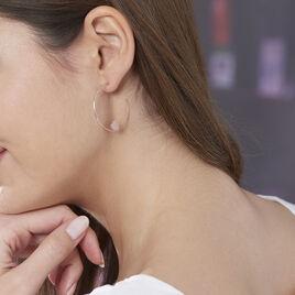 Créoles Habibatou Rondes Argent Blanc Oxyde De Zirconium - Boucles d'Oreilles Coeur Femme   Histoire d'Or