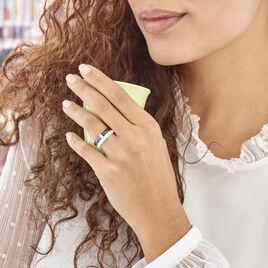 Bague Barette Bicolore Ceramique Argent Oxyde De Zirconium - Bagues avec pierre Femme | Histoire d'Or