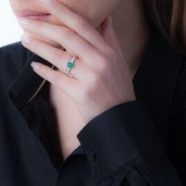Bague Crista Or Rose Emeraude Et Diamant - Bagues solitaires Femme   Histoire d'Or