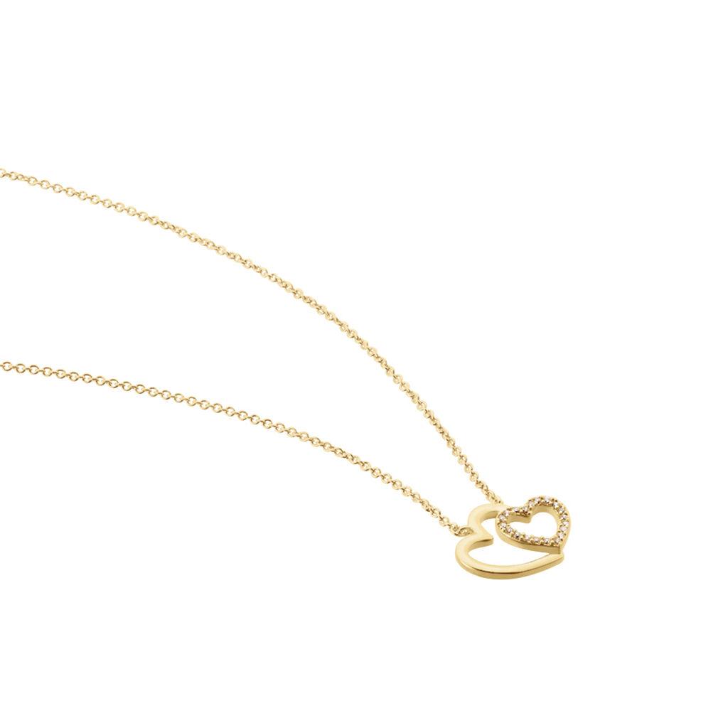 Collier Alexandra Plaque Or Jaune Oxyde De Zirconium - Colliers Coeur Femme | Histoire d'Or