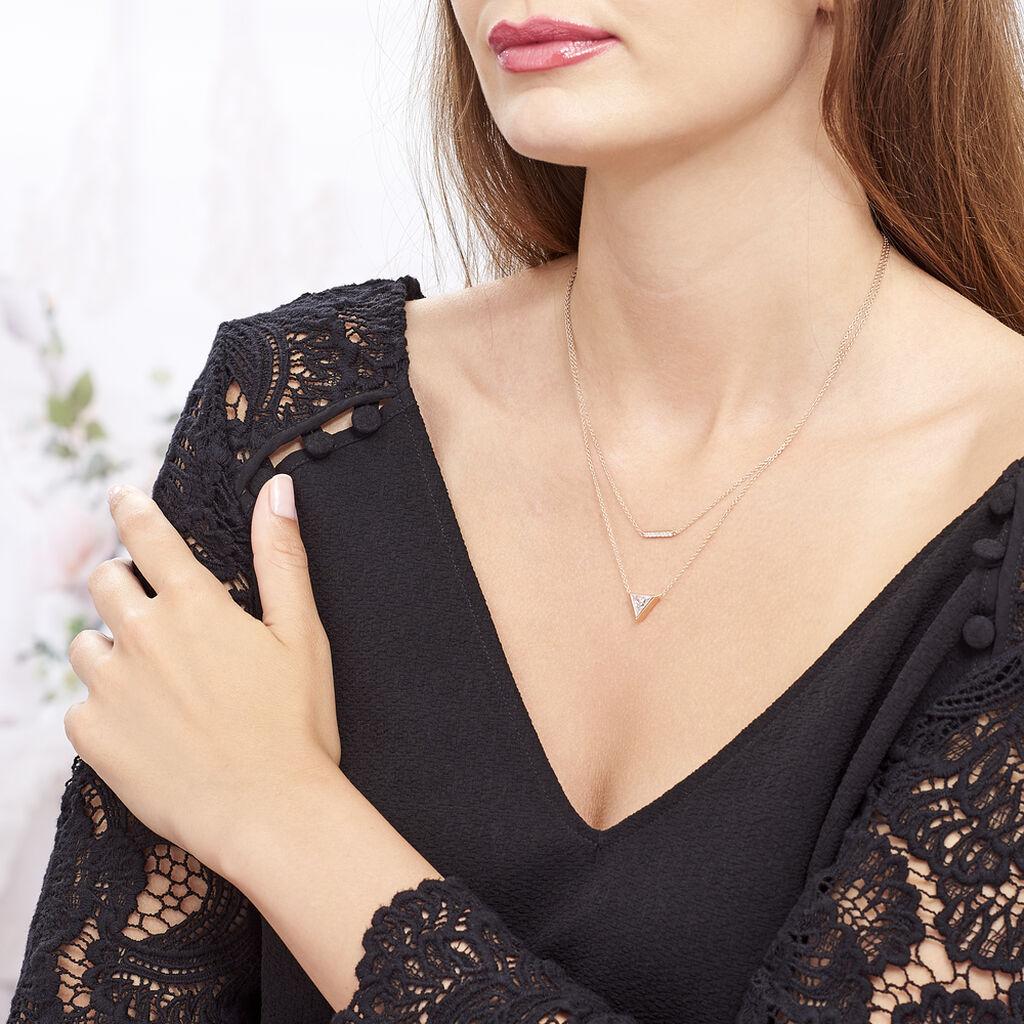 Collier Smita Argent Rose Oxyde De Zirconium - Colliers doubles et triples chaînes Femme | Histoire d'Or