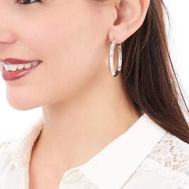 Créoles Roxane Losange Electroforme Argent Blanc - Boucles d'oreilles créoles Femme   Histoire d'Or