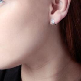 Créoles Jacobee Rondes Or Blanc Oxyde De Zirconium - Boucles d'oreilles créoles Femme   Histoire d'Or