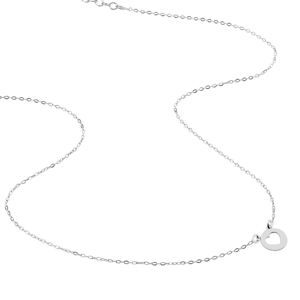 Collier Elenza Argent Blanc - Colliers Coeur Femme   Histoire d'Or