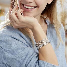Bracelet Jonc Abram Acier Blanc - Bracelets fantaisie Femme | Histoire d'Or