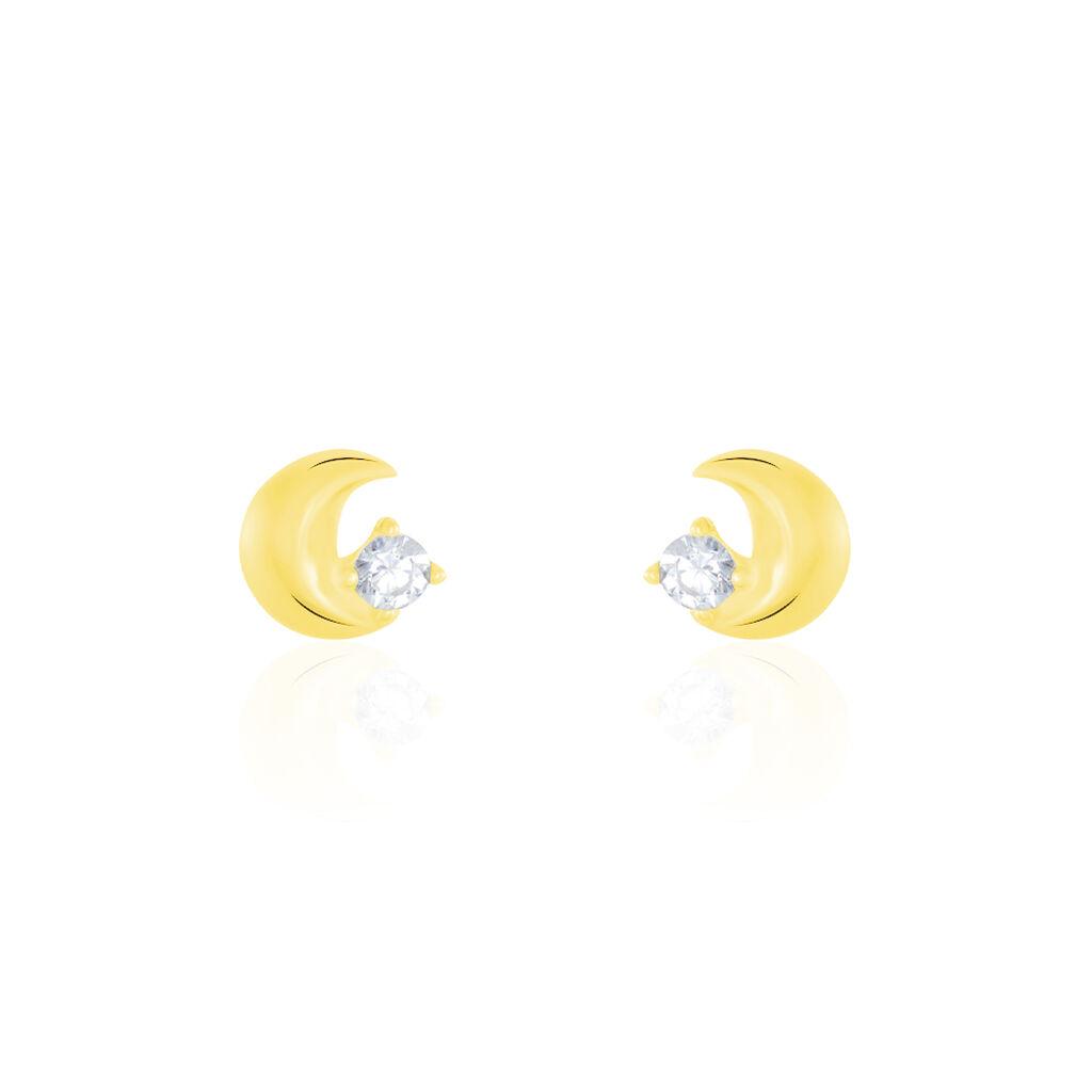 Boucles D'oreilles Puces Francoise-marie Lune Or Jaune Oxyde - Boucles d'Oreilles Lune Femme | Histoire d'Or