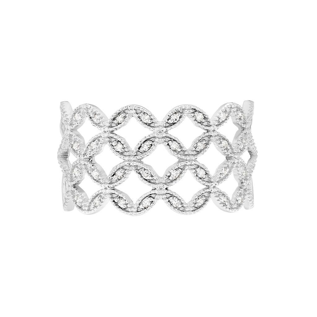 Bague Luciana Or Blanc Diamant - Bagues Trèfle Femme | Histoire d'Or