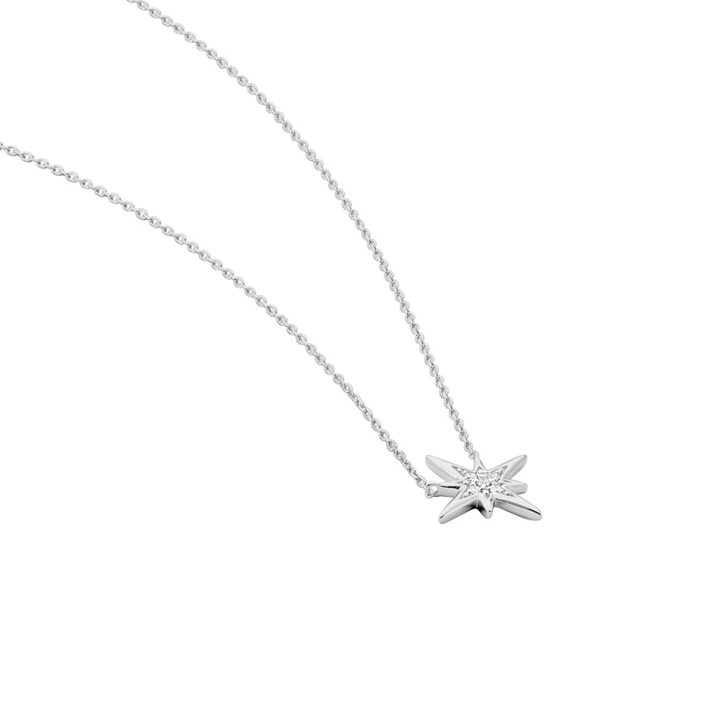 Collier Aveline Or Blanc Diamant - Colliers Etoile Femme   Histoire d'Or