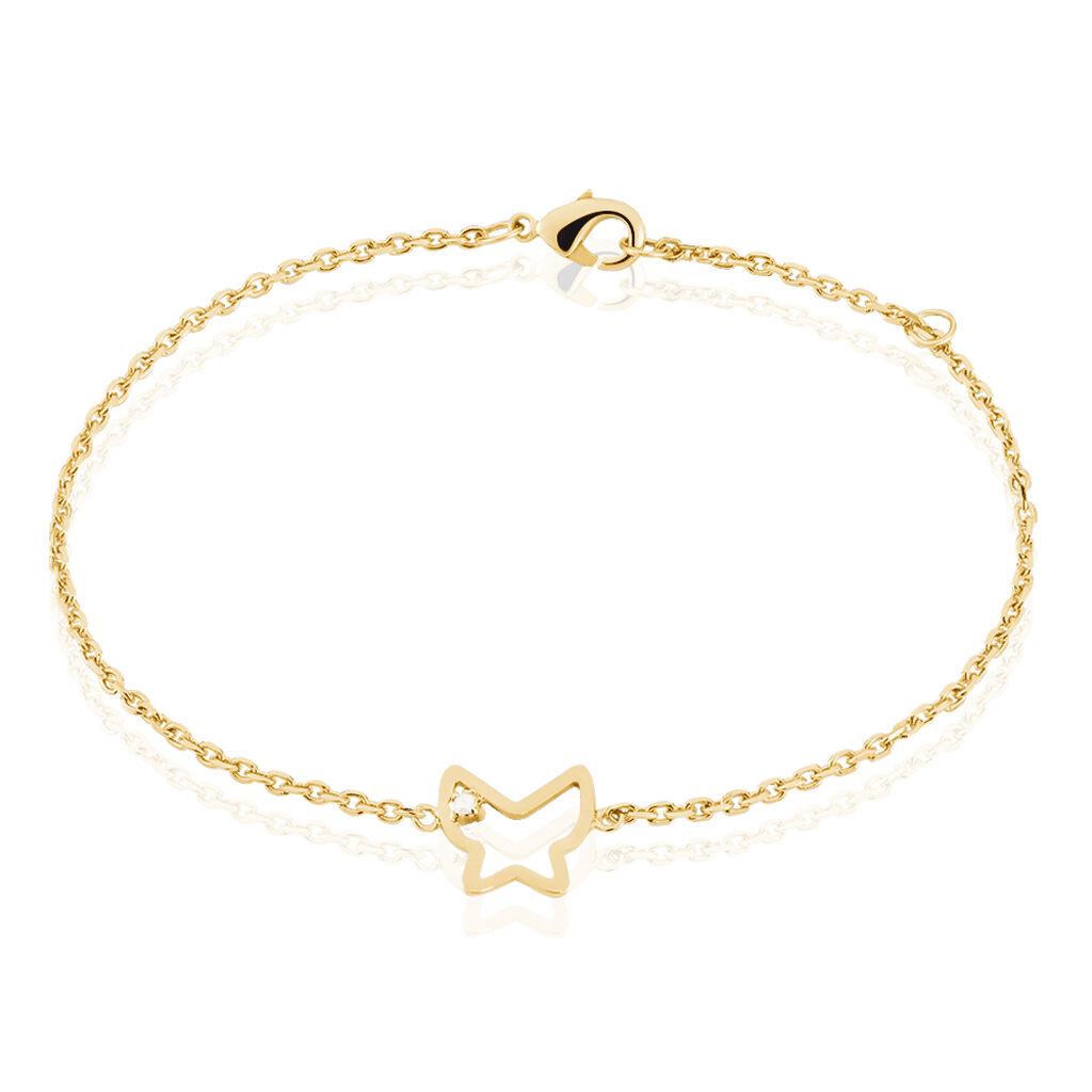 Bracelet Lynae Plaque Or Jaune Diamant - Bracelets Papillon Femme | Histoire d'Or