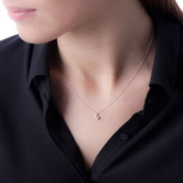 Collier Vrille Accompagnee Or Blanc Diamant - Bijoux Femme   Histoire d'Or