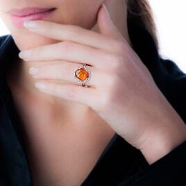 Bague Mallorie Argent Blanc Ambre - Bagues solitaires Femme | Histoire d'Or