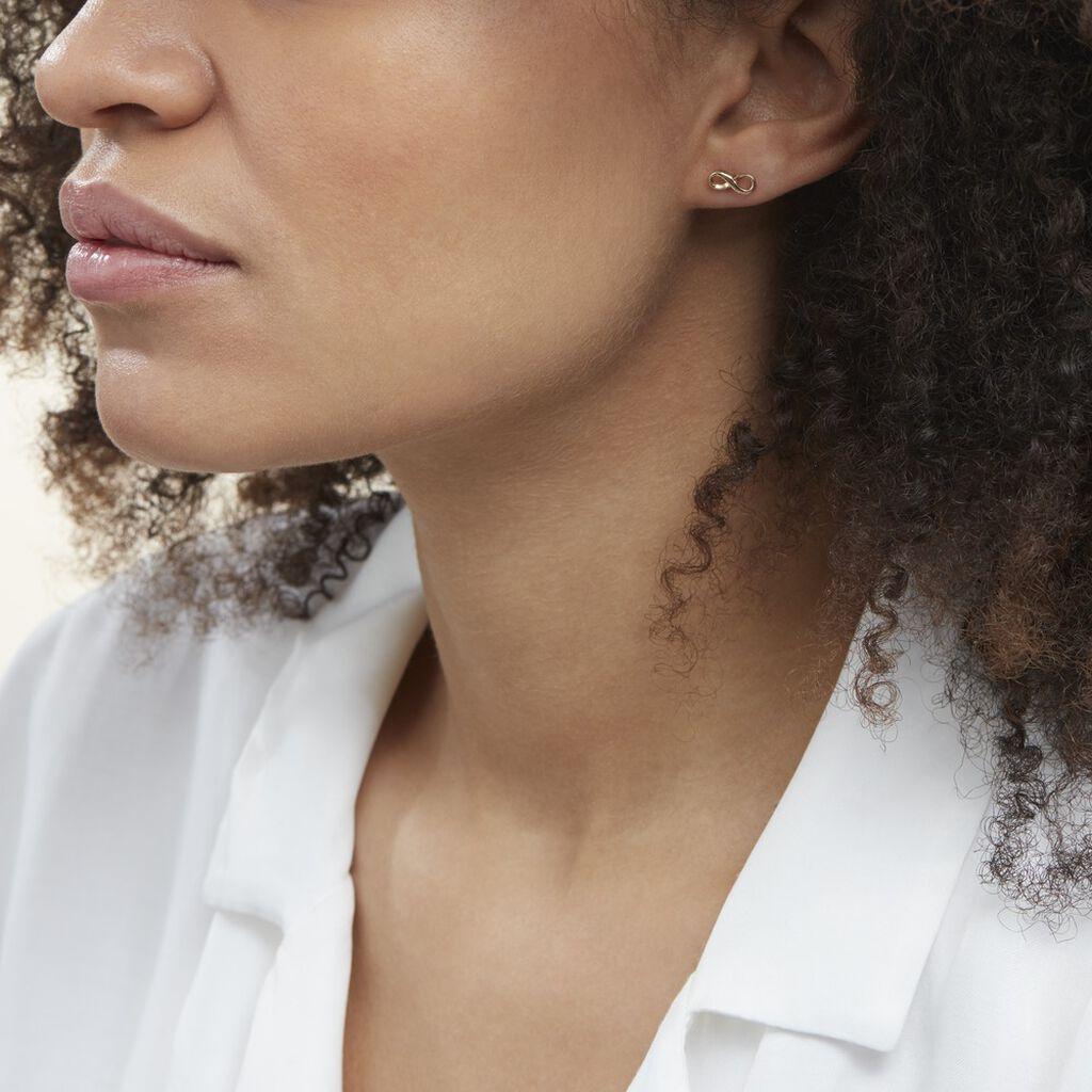 Boucles D'oreilles Puces Ajna Plaque Or Jaune - Boucles d'Oreilles Infini Femme   Histoire d'Or