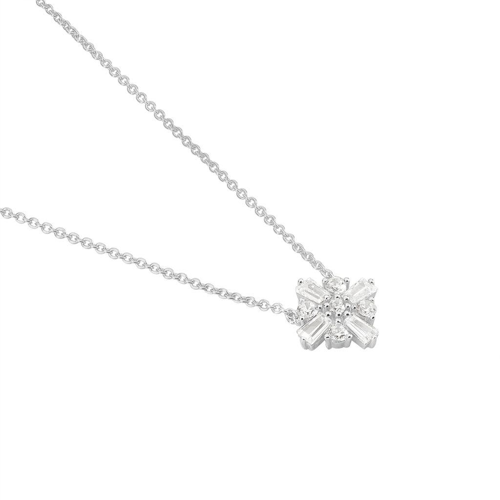 Collier Miryna Argent Blanc Oxyde De Zirconium - Colliers Croix Femme | Histoire d'Or