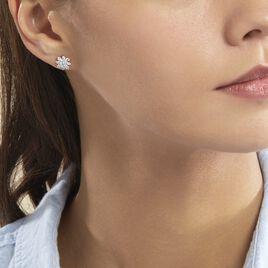 Boucles D'oreilles Puces Lorraine Argent Blanc Oxyde De Zirconium - Boucles d'oreilles fantaisie Femme   Histoire d'Or