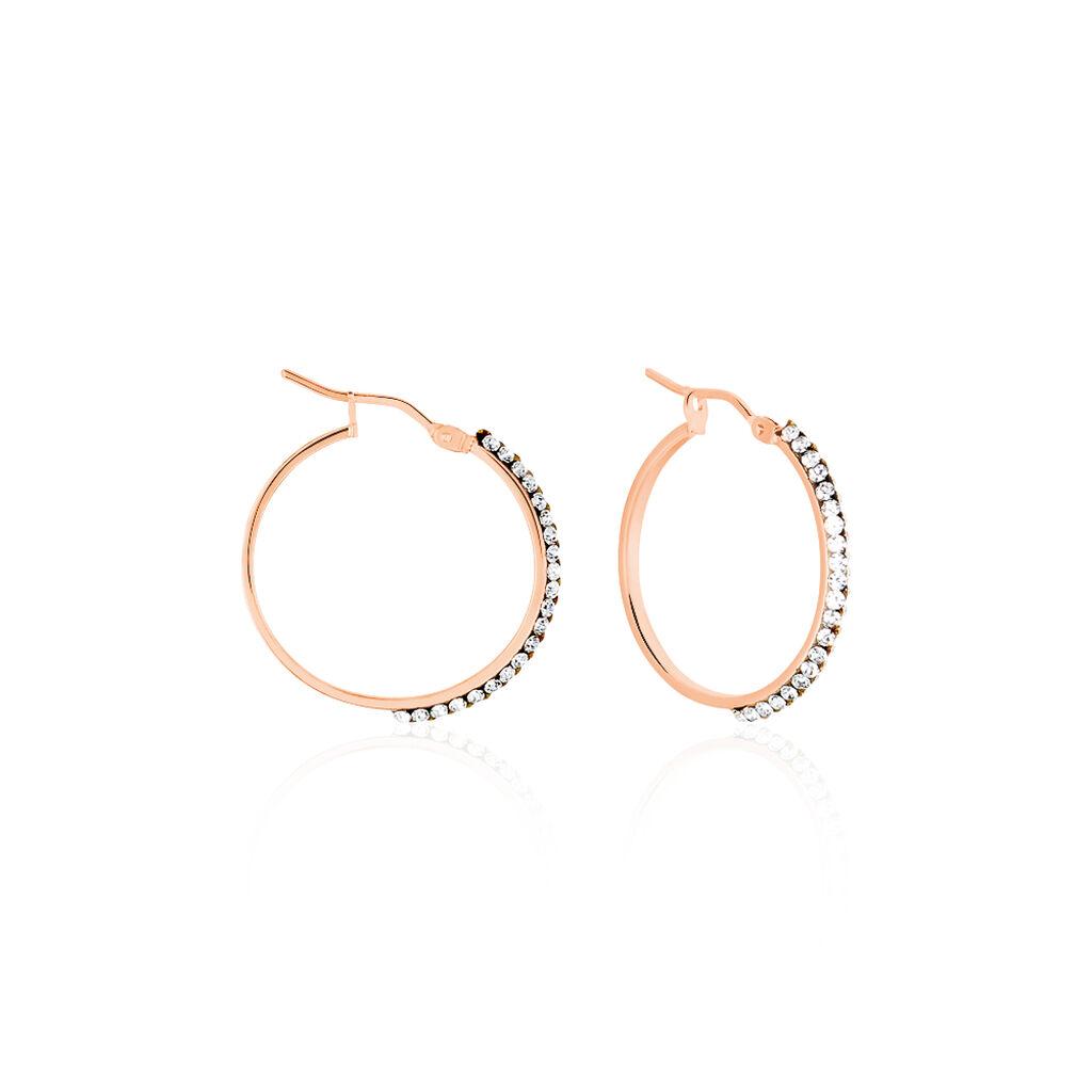 Créoles Leondine Rang Strass Rondes Or Rose Strass - Boucles d'oreilles créoles Femme | Histoire d'Or