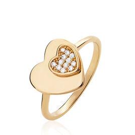 Bague Saleah Plaque Or Jaune Oxyde De Zirconium - Bagues Coeur Femme | Histoire d'Or