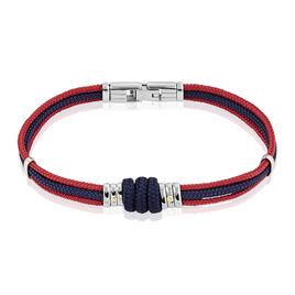 Bracelet Acier Cordons Marine Rouge 21cm - Bracelets cordon Homme | Histoire d'Or