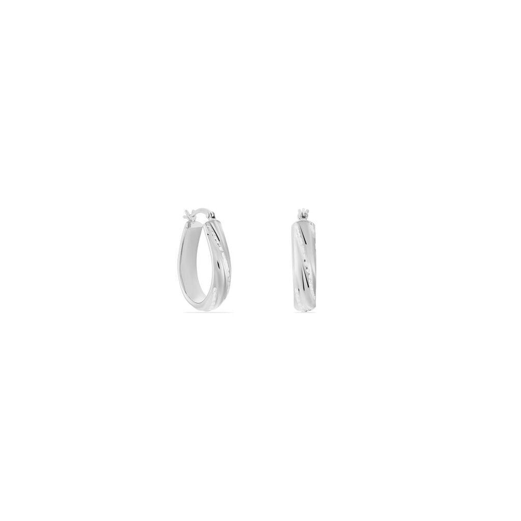 Créoles Elyne Gouttes Diamantées Argent Blanc - Boucles d'oreilles créoles Femme   Histoire d'Or