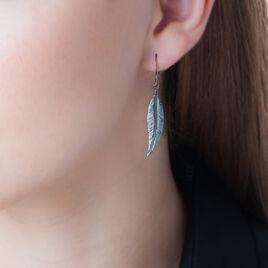 Boucles D'oreilles Pendantes Irene Argent Noir - Boucles d'Oreilles Plume Femme | Histoire d'Or
