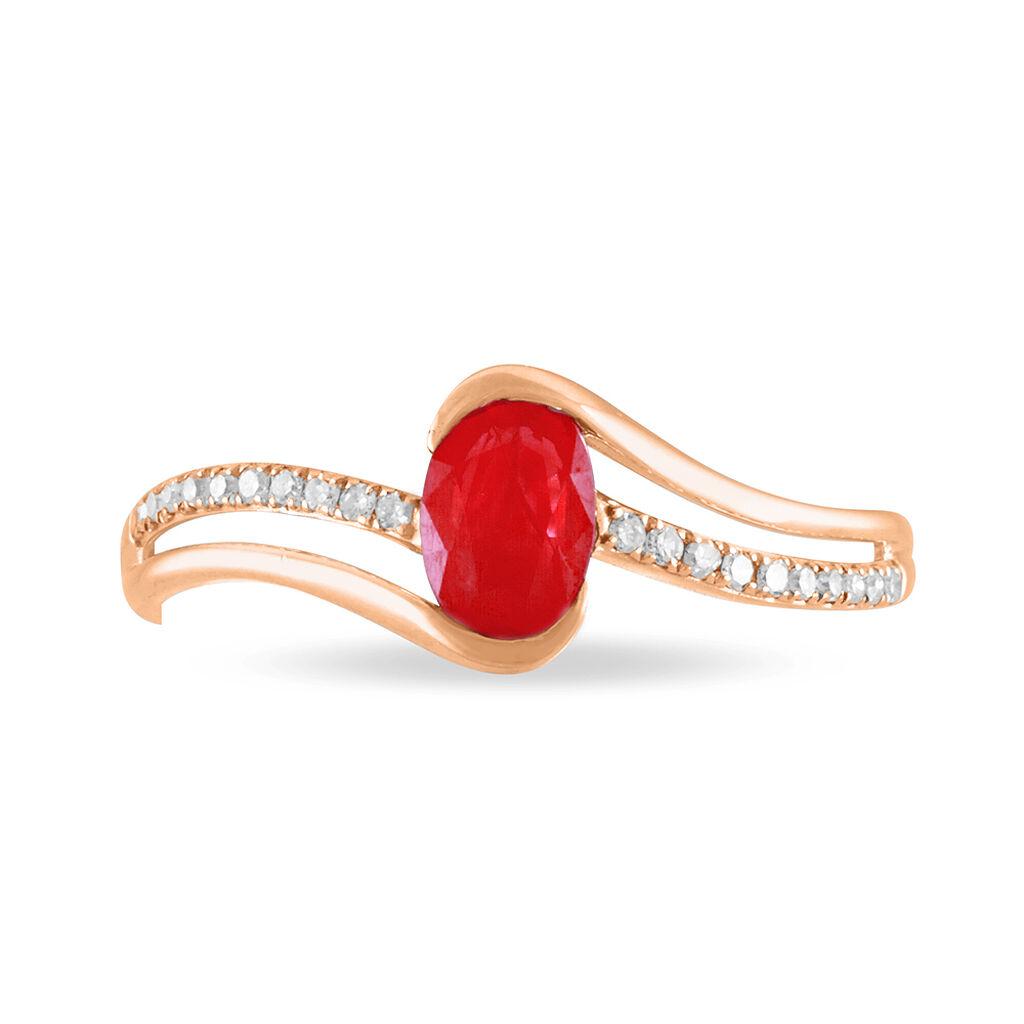 Bague Anja Or Rose Rubis Et Diamant - Bagues avec pierre Femme | Histoire d'Or