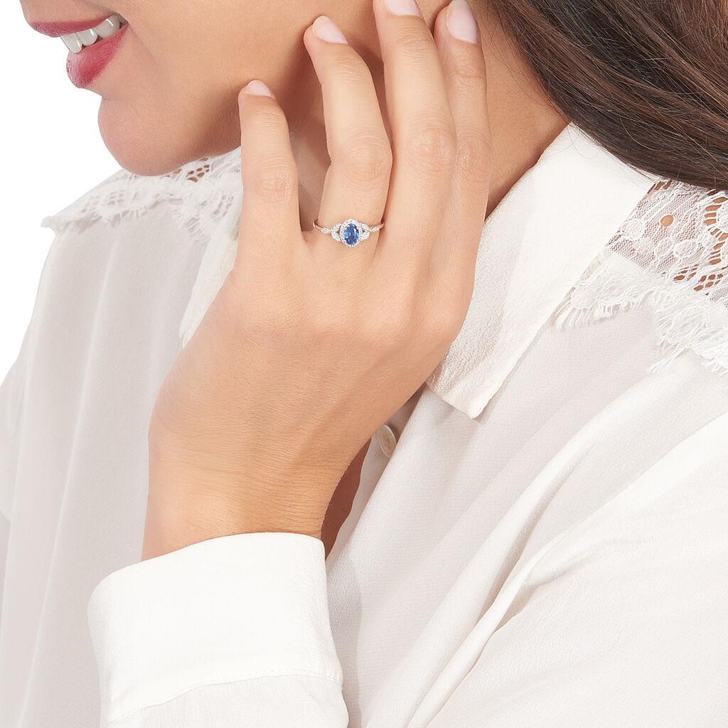 Bague Cloee Or Blanc Saphir Et Diamant - Bagues solitaires Femme   Histoire d'Or