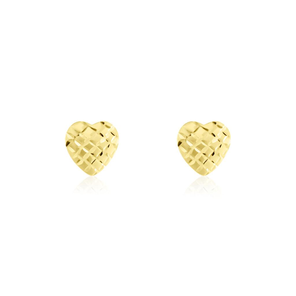Boucles D'oreilles Puces Heart 2 Ov Or Jaune - Boucles d'Oreilles Coeur Femme | Histoire d'Or