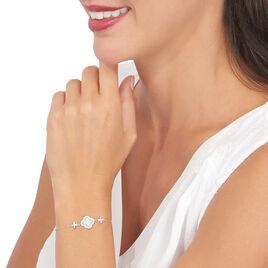 Bracelet Hapsa Argent Blanc Oxyde De Zirconium - Bracelets Trèfle Femme | Histoire d'Or