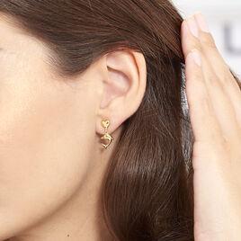 Boucles D'oreilles Pendantes Fulvie Coeurs Et Dauphin Or Jaune - Boucles d'Oreilles Coeur Femme   Histoire d'Or