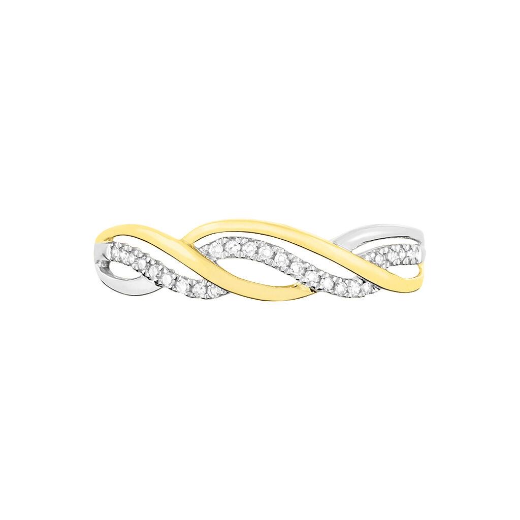 Bague Romane Or Jaune Diamant - Bagues avec pierre Femme   Histoire d'Or