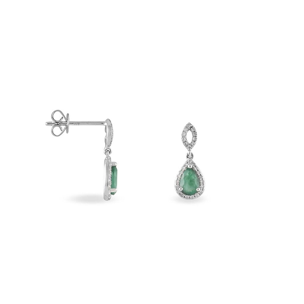 Boucles D'oreilles Puces Sissi Or Blanc Diamant Et Emeraude - Boucles d'oreilles pendantes Femme   Histoire d'Or