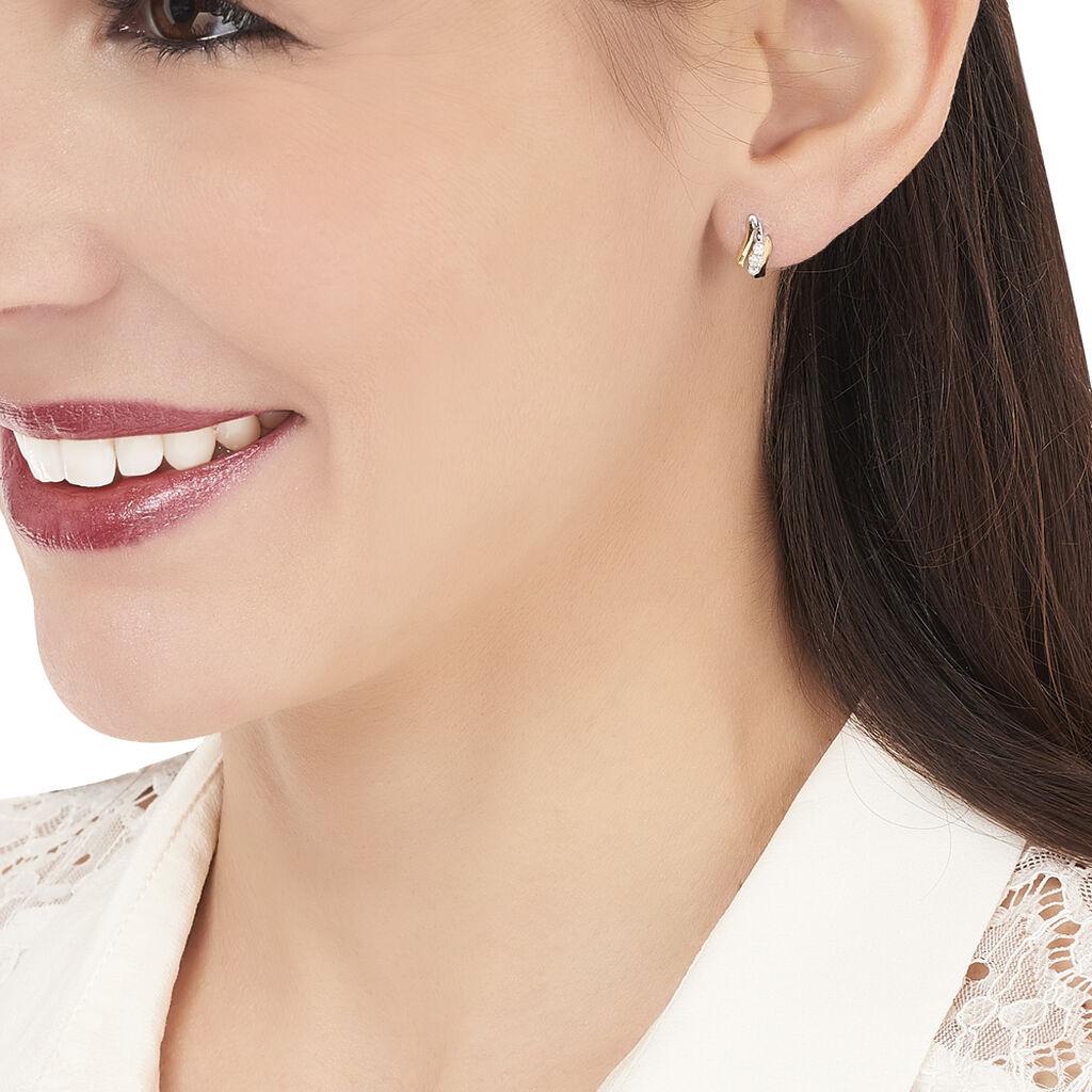 Boucles D'oreilles Pendantes Mayline Or Bicolore Diamant - Boucles d'oreilles pendantes Femme   Histoire d'Or
