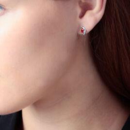Boucles D'oreilles Puces Lydia Or Bicolore Rubis - Clous d'oreilles Femme | Histoire d'Or