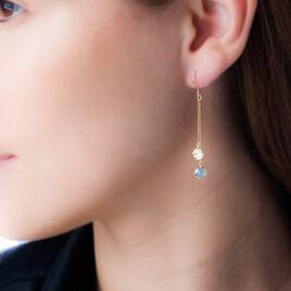 Boucles D'oreilles Puces Or Jaune Aigue Marine - Boucles d'oreilles pendantes Femme   Histoire d'Or