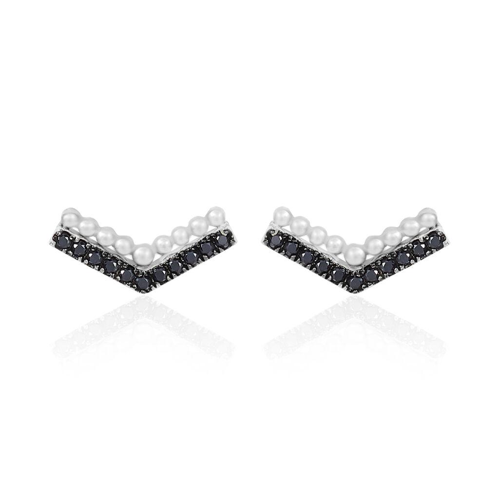 Boucles D'oreilles Puces Irina Argent Blanc Oxyde De Zirconium - Boucles d'oreilles fantaisie Femme | Histoire d'Or