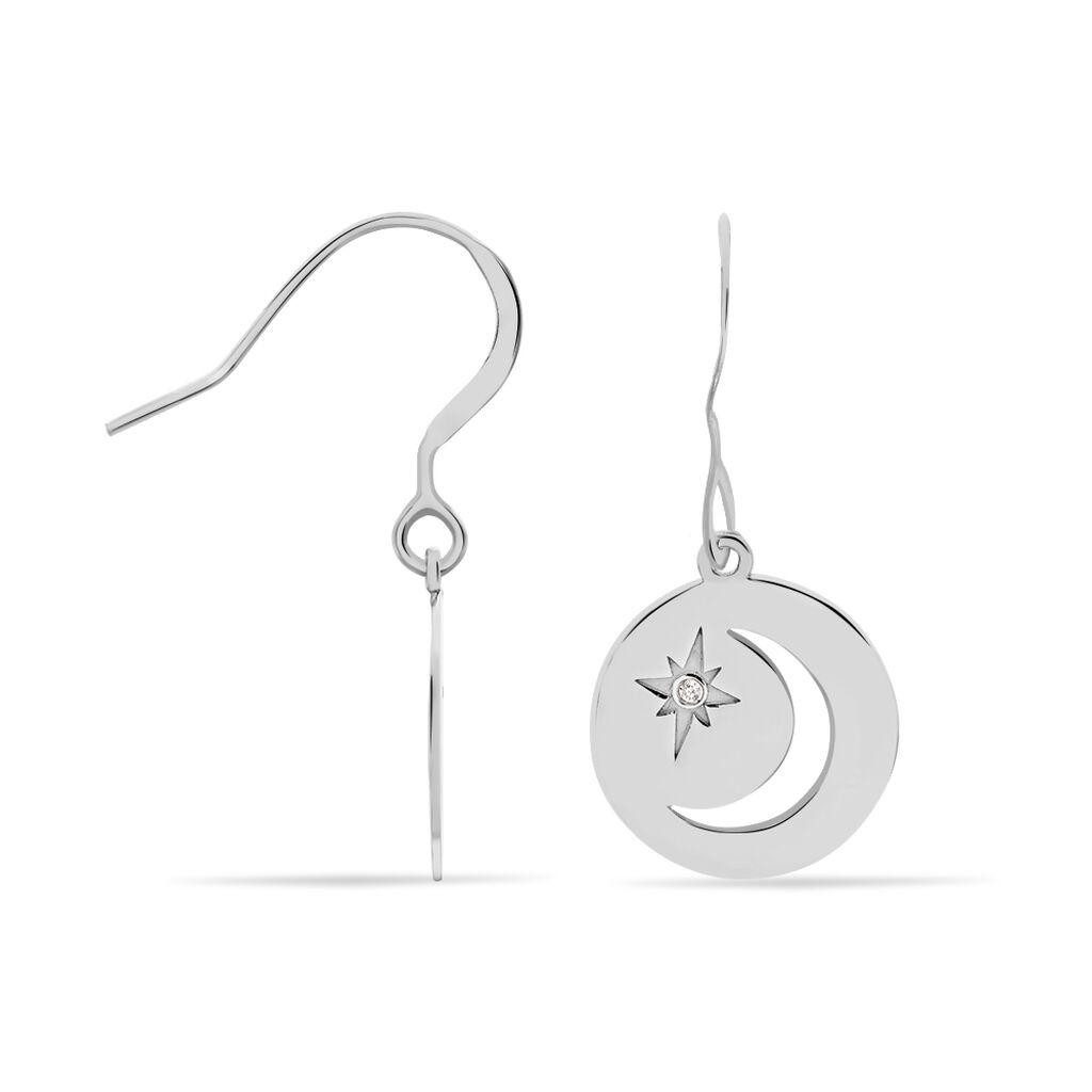 Boucles D'oreilles Pendantes Beyhan Argent Blanc - Boucles d'Oreilles Etoile Femme | Histoire d'Or