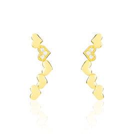 Bijoux D'oreilles Lavanya Or Jaune Oxyde De Zirconium - Boucles d'Oreilles Coeur Femme | Histoire d'Or