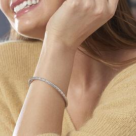 Bracelet Jonc Jennie Diamante Or Blanc - Bracelets joncs Femme | Histoire d'Or