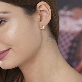 Boucles D'oreilles Puces Iwaki Plaque Or Jaune Oxyde De Zirconium - Boucles d'oreilles fantaisie Femme | Histoire d'Or