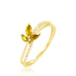 Bague Or Jaune Maura Citrines - Bagues avec pierre Femme   Histoire d'Or
