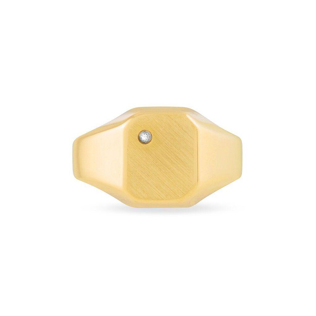 Chevalière Carree Or Jaune Oxyde De Zirconium - Chevalières Famille | Histoire d'Or